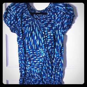 Blue Green patterned top, elasticized bottom Small